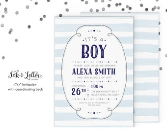Blue and Silver Baby Shower Invitation - Boy Baby Shower Invitation - Printable Baby Shower Invitation - Blue Shower Invite - Digital Invite