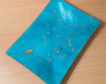 Blue Enamel on Copper Trinket Dish by Bovano, Copper Dish by Bovano, Blue & Gold Enamel and Copper, Vintage Copper