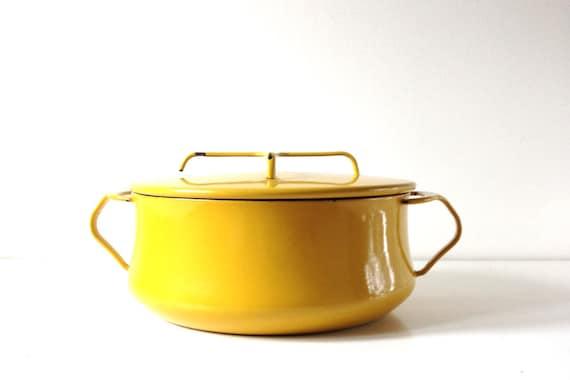 Mid Century Modern Oven ~ Mid century modern dutch oven yellow enamel casserole dish