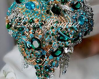 Wedding bouquet, Brooch bouquet, Bridal bouquet, Bridesmaids bouquet, Jewellery bouquet, Emerald Wedding Gold Green Wedding Bouquet
