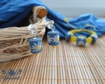Romantic earrings White chamomiles Floral earrings Hand embroidery Embroidered earrings Gift for girl Blue earrings Summer earrings