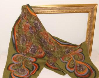 Handmade olive green - nuno felt scarf, felted wrap