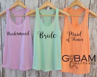 Bride Tank Top / Bridal Party Tank tops / Bridesmaid Tank / Maid of Honor Tank /