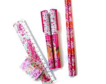 Stationary set, pencils, pens, ballpoints, school set, eraser, ruler, planner supplies, planner, clear pencil case, flowers, butterflies