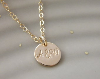 14k Gold, Tiny two initial necklace