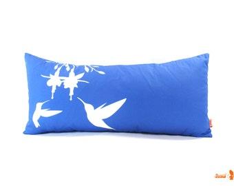 SALE - Cobalt Blue Hummingbird and Fuchsia Rectangle Pillow