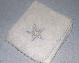 Stars Blanket Lightweight Embroidery Fleece - Ready to Ship