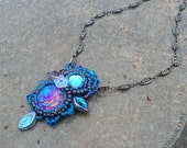 Bead Embroidered Cabochon Necklace - River Goddess with Swarovski and Vintage Glass Stones
