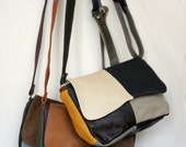 Bohemian Recycled Leather Patchwork Crossbody Purse Bag