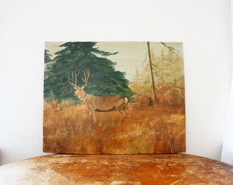 vintage 70s Stag in the Woods Artist Signed Oil on Board Framed Painting // Woodland Creature Deer Wall Hanging