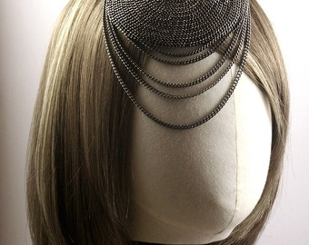 Mini Beret Style Fascinator Covered with Chains