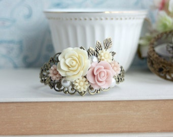 Wedding Flower Bracelet, Pink Flower Bracelet, Vintage Inspired Collage Cuff Bracelet Pink Ivory Bracelet Woodland Wedding Bridesmaid Gift