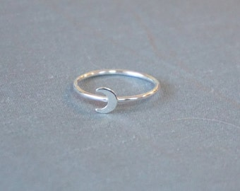 Tiny Moon Ring, Sterling Silver Ring, Moon Jewelry, Ring, Sterling Silver, Silver Ring, Moon Ring, Stacking Ring