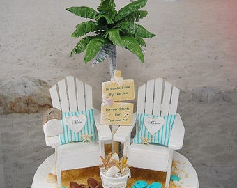 """Beach Wedding Cake Topper NO BASE SALE! Fits 6"""" Custom Made To Order Beach Sign/Sea Shell Bucket Your Colors. Personalized! Rustic Tropical"""