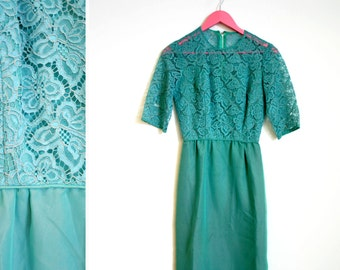 Vintage 1960s Teal Lace Wiggle 3/4 Length Sleeve Dress by Washer Bros of Ft Worth Size Small