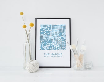 The Haight map digital download - Haight art - Upper Haight decor - Upper Haight map - SF map - SF gift - San Francisco