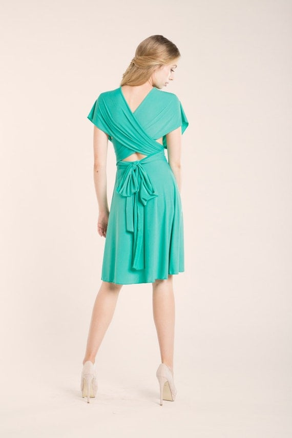 Light turquoise bridesmaid infinity dress short light