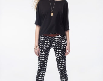 Hand Printed 'Mountain' Leggings in White on Black
