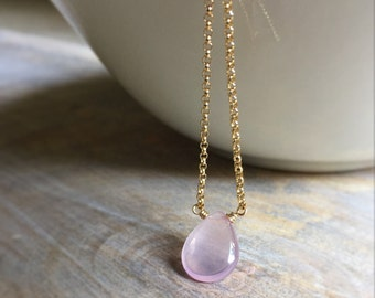 Rose Quartz Necklace, Smooth Rose Quartz Gemstone Pendant, Gold Filled Chain Necklace, Dainty Minimal Jewelry