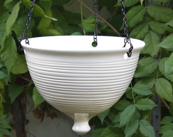 Ceramic Hanging Planter, Large modern white pottery Hanging planter, geometric Garden Bowl, Wheel thrown flower pot mothers day hostess gift