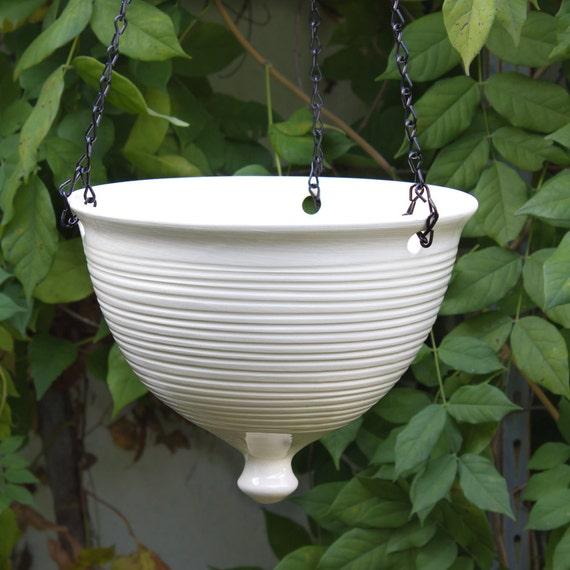 Ceramic Hanging Planter, Large modern white pottery Hanging planter ...