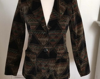 Vintage Velveteen Blazer Jacket, 1970s Form Fitting, Black Triangles Abstract Print XS, Small