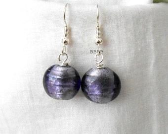 Purple Foil Earrings Lampwork Beaded Coin Earrings Bright Silver Earrings