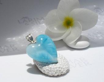 Larimarandsilver pendant, Crystal Love - aquamarine Larimar heart, topaz blue, angel heart, turquoise blue, aqua, handmade Larimar pendant
