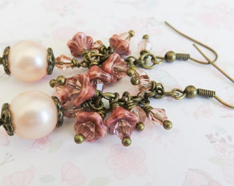 Peach bridesmaid earrings, cluster pearl earrings, long earrings, country wedding jewelry, gift for her, rustic wedding jewelry