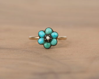 Layaway Payment #3/3 for T----------Victorian Turquoise and Seed Pearl Flower 14k Yellow Gold Conversion Ring