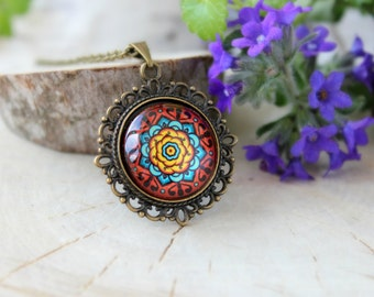 Colorful Mandala Necklace, Antique Bronze Pendant,Glass Cabochon Pendant With Chain