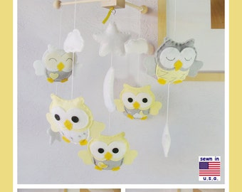Baby Mobile, Baby Crib Mobile, Owl Nursery Decor, Neutral Owl Mobile, Newborn Baby Gifts, Yellow Gray Nursery with new premium wood frame