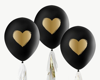 """12"""" Black & Gold Balloons / Brushed Heart"""