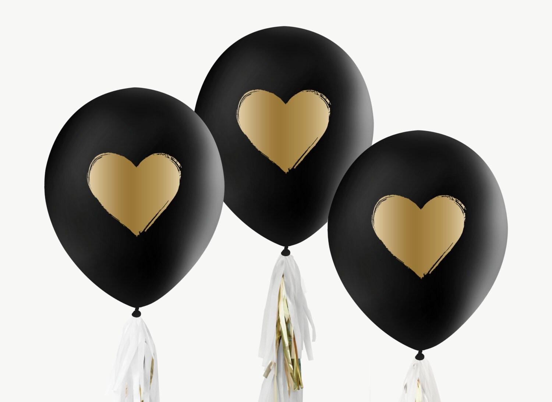12 black amp gold balloons brushed heart