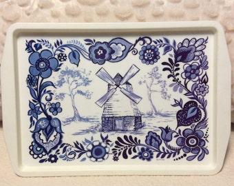 Vintage Large Delft Blue Serving Tray Dutch Windmill Nutron Plastics of Florida 1960s