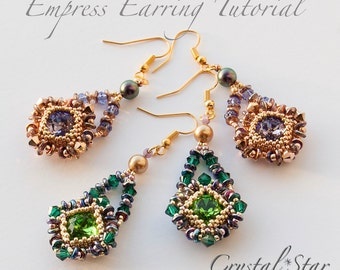 Beading earrings - Stunning Swarovski Squares - full tutorial and pattern - immediate PDF download - commissioned item if you wish!