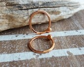 Handmade 18 gauge Copper Ball Hoop Earrings, Closed, Hammered Artisan Jewelry, Choice of Size and Finish - Made in USA