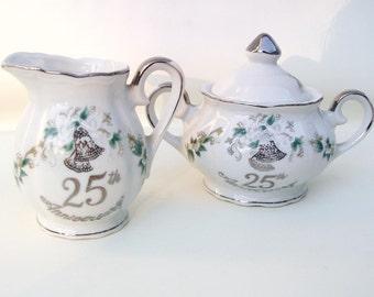 Vintage Sugar Creamer Set   Lefton China   25th Anniversary   Sugar Bowl and Creamer Set   Silver Anniversary