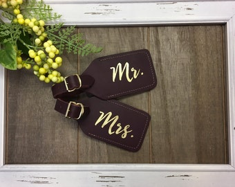 leather luggage tag -mr & mrs leather luggage tag - foil leather luggage tag - personalized - real foil and leather - set of 2 - wifey/hubby