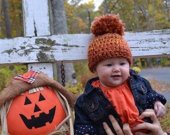Crochet Baby Hat  Chunky Textured Beanie  Pom Pom rust orange