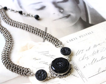 Silver Chain Maille CHOKER Necklace, Antique Black Glass and Beaded Button c.1880, Antique Button Jewelry by Donna Sutor, veryDonna