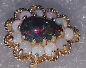 One of a Kind Opal Ring 14k Solid Gold Opal Cluster Ring Size 5.75 With Free Shipping And 10% Off At Checkout Offers Will Be Reviewed