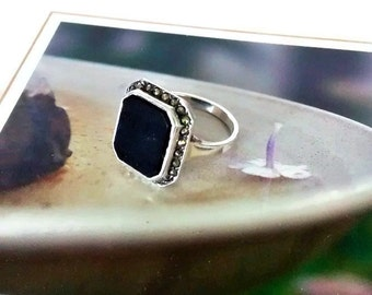 Art Deco Black Onyx and Marcasite Ring, Sterling Silver, 1920s, Size 5