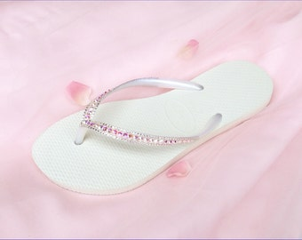 Custom Havaianas Slim Flip Flops Blush Pink White Wedding Crystal AB Iridescent w/ Swarovsk Rhinestone Jewel Bling Bridal Sandal Beach Shoes