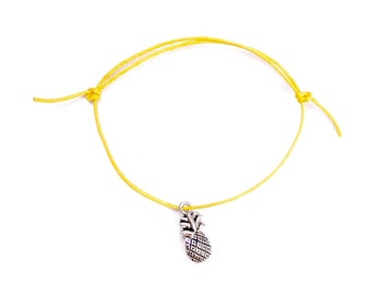 silver pineapple charm on waxed cotton cord adjustable friendship bracelet