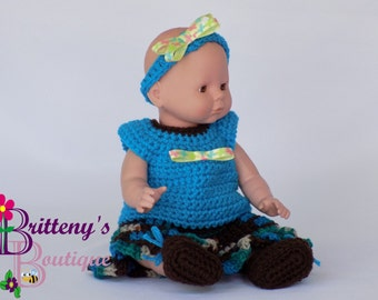 Baby Doll Clothes / Crochet Baby Doll Clothes Set / Crochet Baby Doll Shirt Skirt Booties Headband /  Baby Doll Clothing / 13-14 inch Size