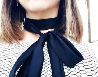 Black Silk Skinny Scarf
