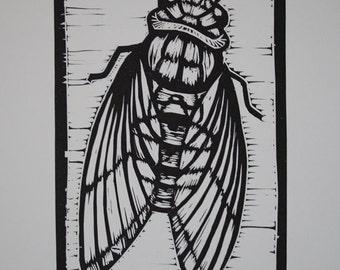 Cicada Linocut  Print