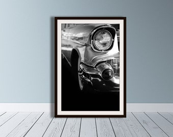 Classic Car Photography, Chevrolet Bel Air, 1950s Wall Art, Auto Art, Black and White, Fine Art Photography, Hot Rod Print