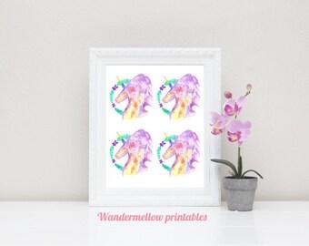 Unicorns Printable Art, Galaxy Unicorn art, Instant download, Home decor, Prints, Printable